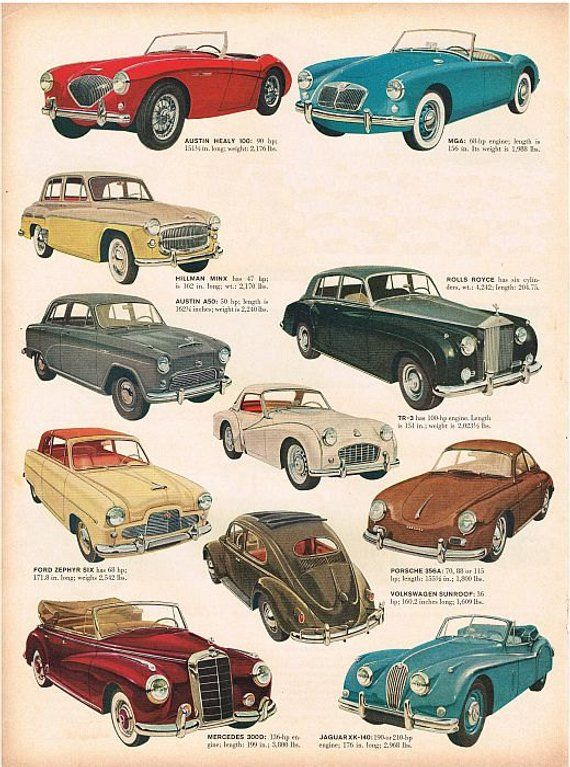Items similar to vintage mid century imported german and english classic cars illustration digital download on Etsy