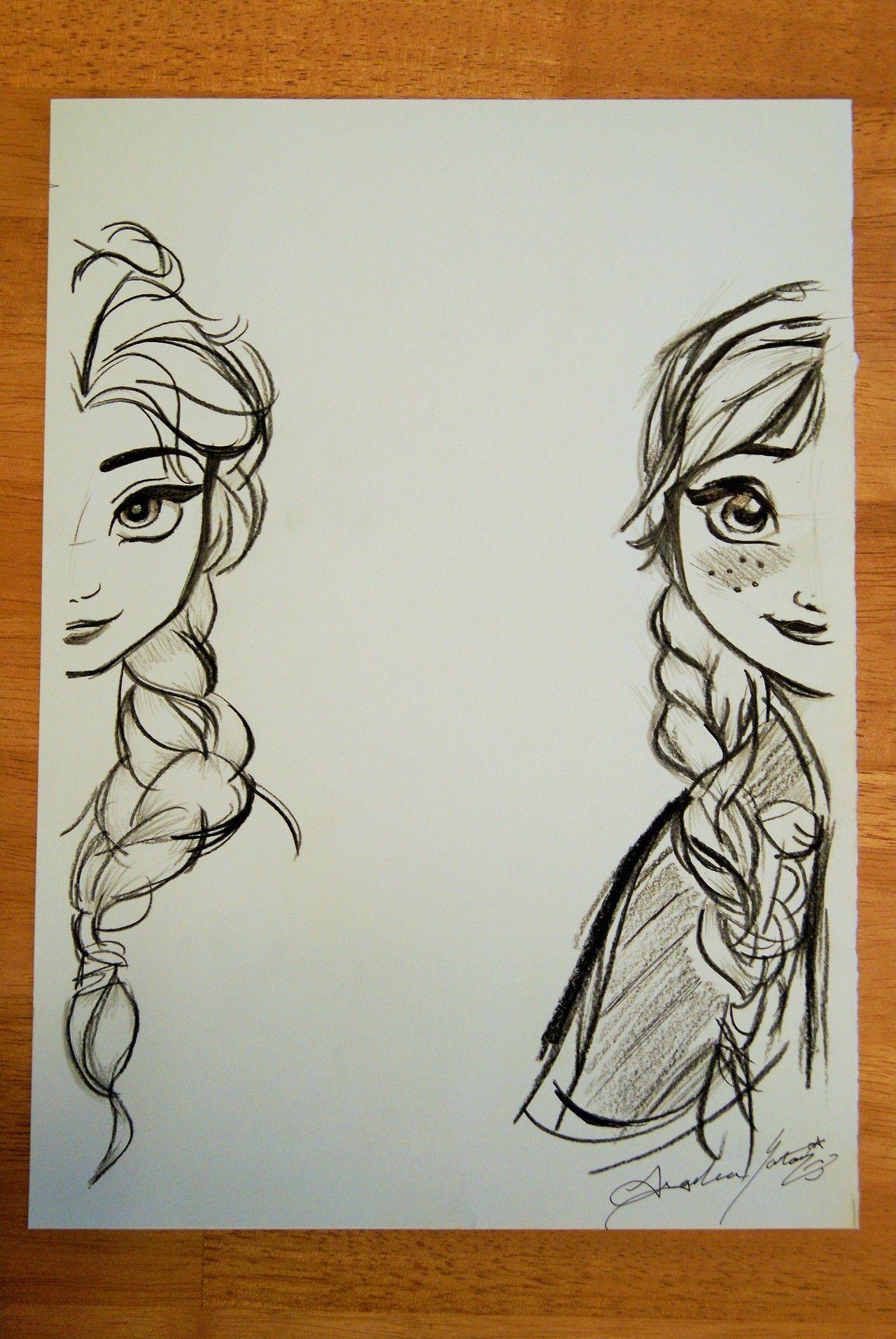 Di disney frozen wall murals - Disney Art Elsa And Anna