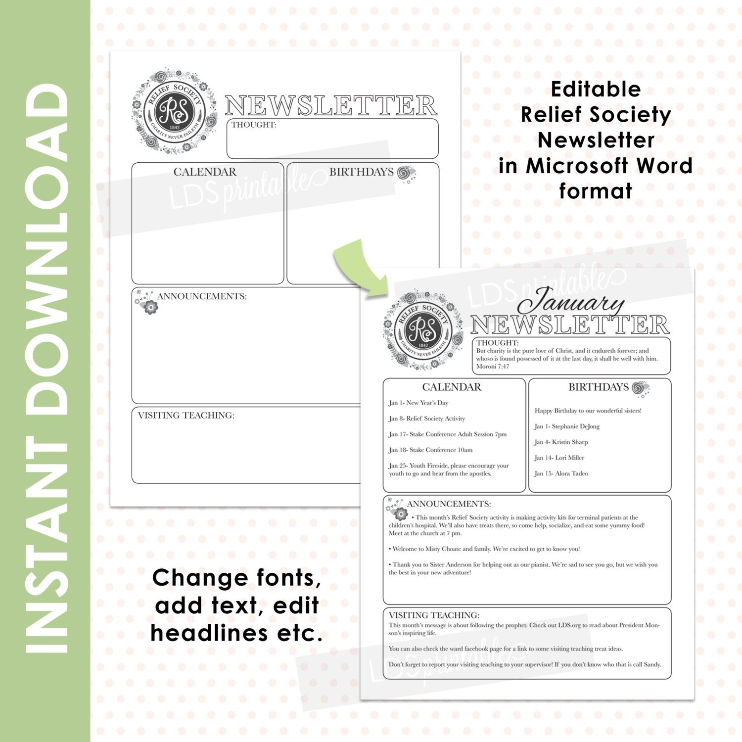 LDS Relief Society Editable Newsletter in Microsoft Word