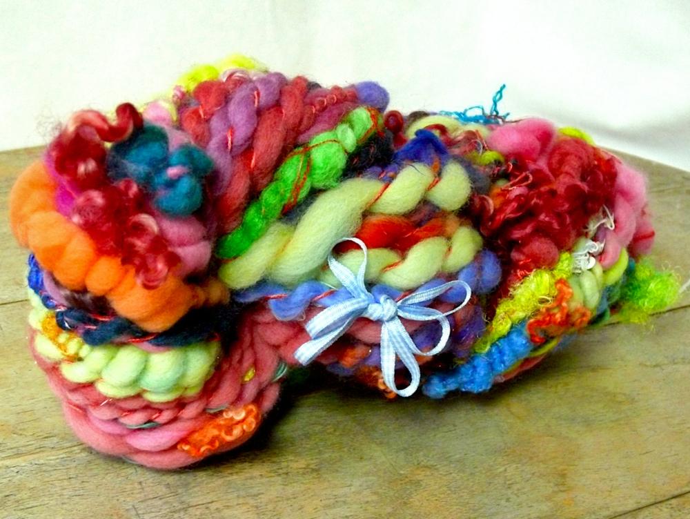 Party Animals! 178g handspun art yarn textured yarn