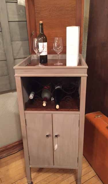 Items for Sale Wine cabinet made from an old record cabinet. Painted in French Linen Chalk Paint®.