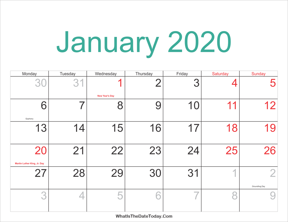 photograph relating to Free Printable 2020 Calendar With Holidays known as January 2020 Calendar with Holiday seasons Blank January 2020