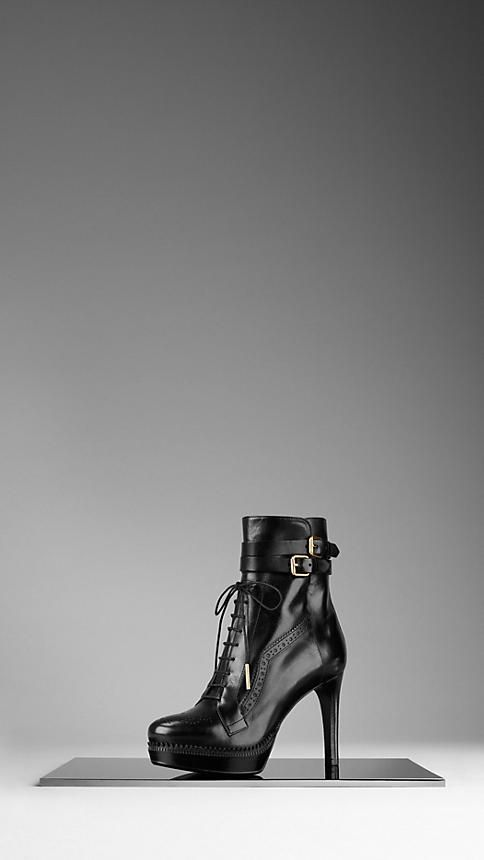 Burberry - BROGUE PLATFORM WIDE-FIT ANKLE BOOTS