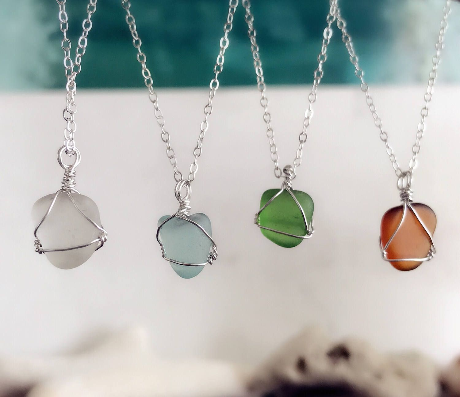 Photo of Wire wrapped Authentic sea glass Charm chocker Necklace,  genuine natural sea glass Wedding Jewelry for Beach Wedding  Bridesmaids Gifts