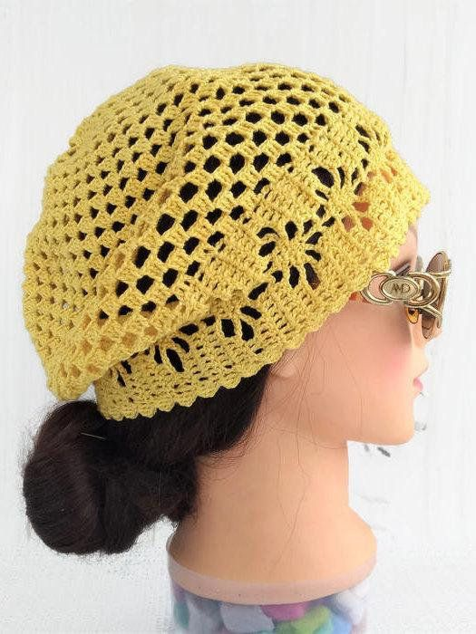 80f1f00e Summer crochet beret hat outfit Cotton crochet lace beanies hat for women  Slouchy beret hats Net lac