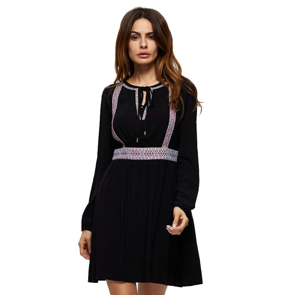 Casual loose long sleeve print vintage short dresses vintage