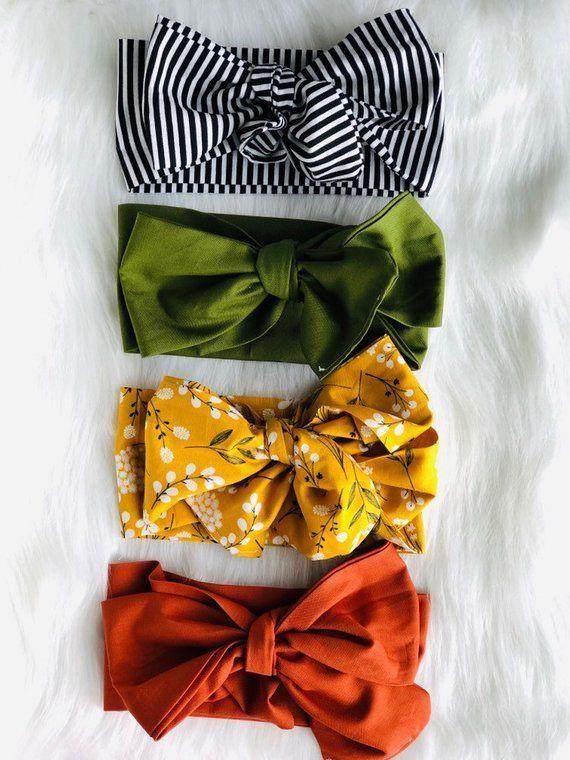 A Rainbow of Neutrals: {3 items} Sage Retro Knot, Pretty Purple Retro knot, Camel Retro Knot -  top  #babyheadbands