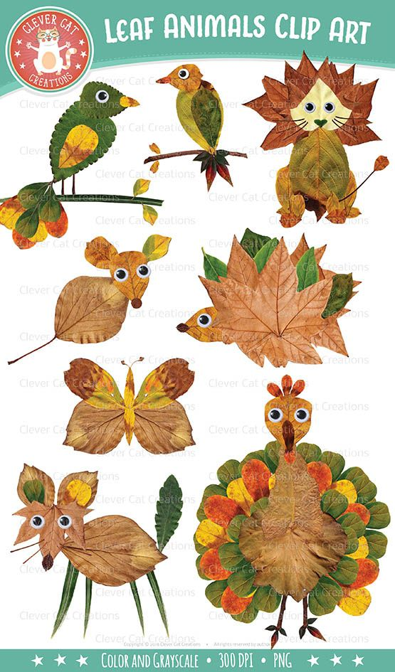 Fall / Autumn Leaf Animal Clip Art #fall