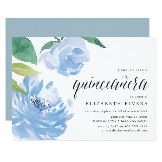 Blue Peony | Quinceanera Invitation | Zazzle.com #bluepeonies
