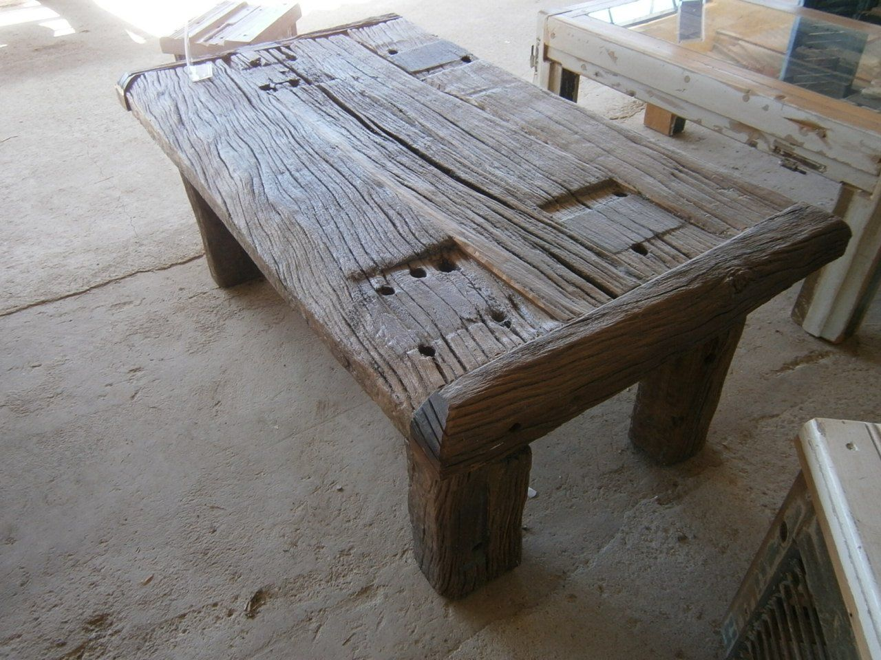 Handmade coffee table made from wooden sleepers railroad for Cool coffee tables built out of railroad ties