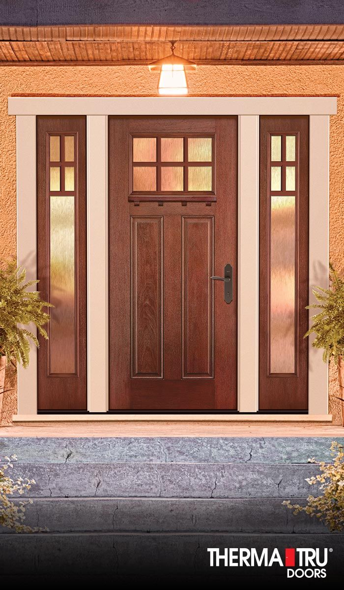 Craftsman 2 Panel Woodgrain Stained Fiberglass Door With Glass And Sdls By Therma Tru Craftsman Front Doors Exterior Entry Doors Interior Exterior Doors
