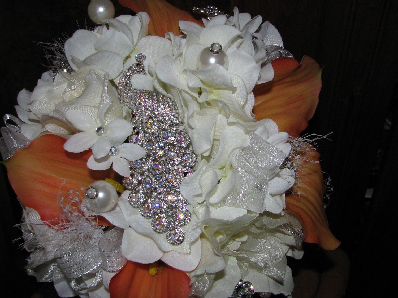 Bridal Wedding Brooch Bouquet With Rhinestone Peacock And Orange
