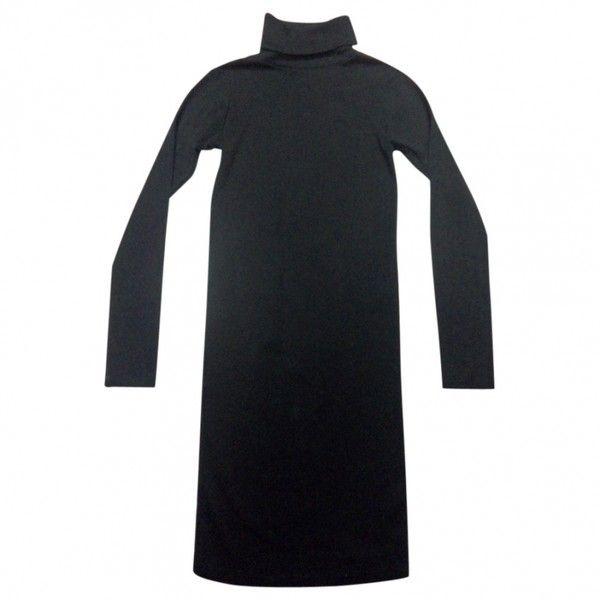 Black Cotton Dress AMERICAN APPAREL (€36) ❤ liked on Polyvore featuring dresses, kohl dresses, black cotton dress, black dress, cotton dress and black day dress