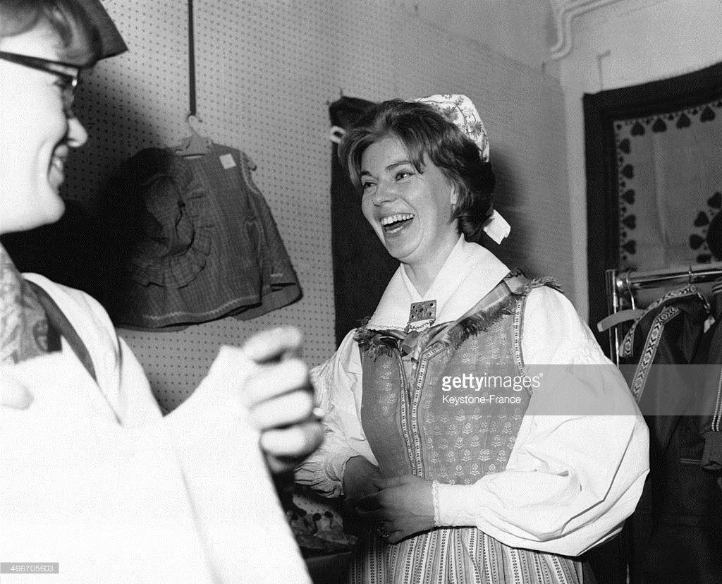 Princess Margaretha of Sweden wears the traditional Swedish costume during the annual Swedish Christmas Fair at the Swedish Church Hall on November 25, 1966 in London, United Kingdom. (Photo by Gamma-Keystone via Getty Images)