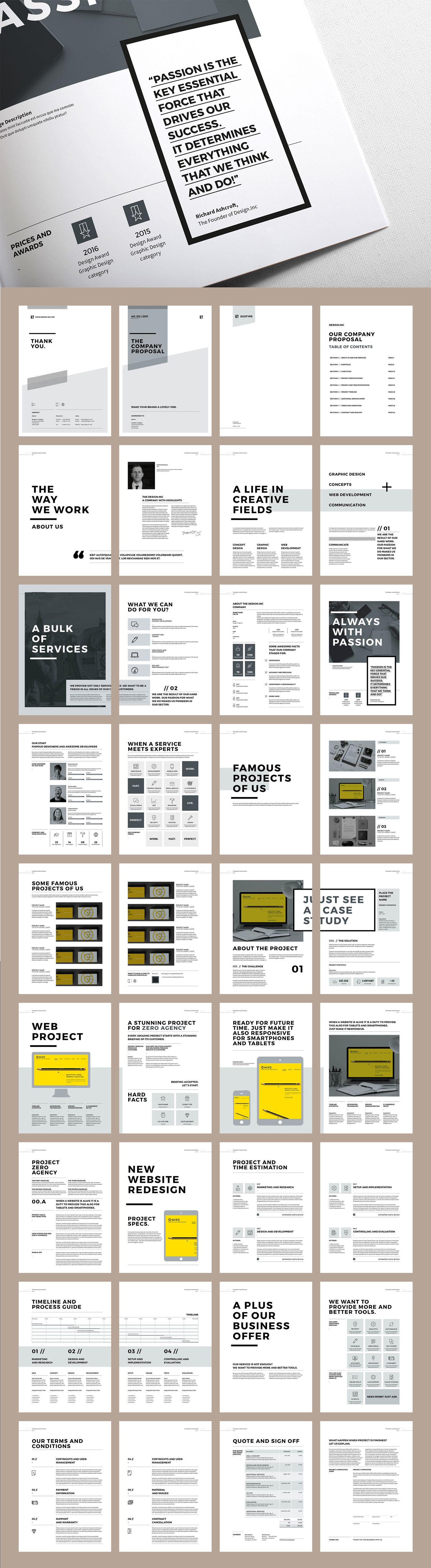 Brochure Template Word Proposal And Portfolio Templateminimal And Professional Proposal .