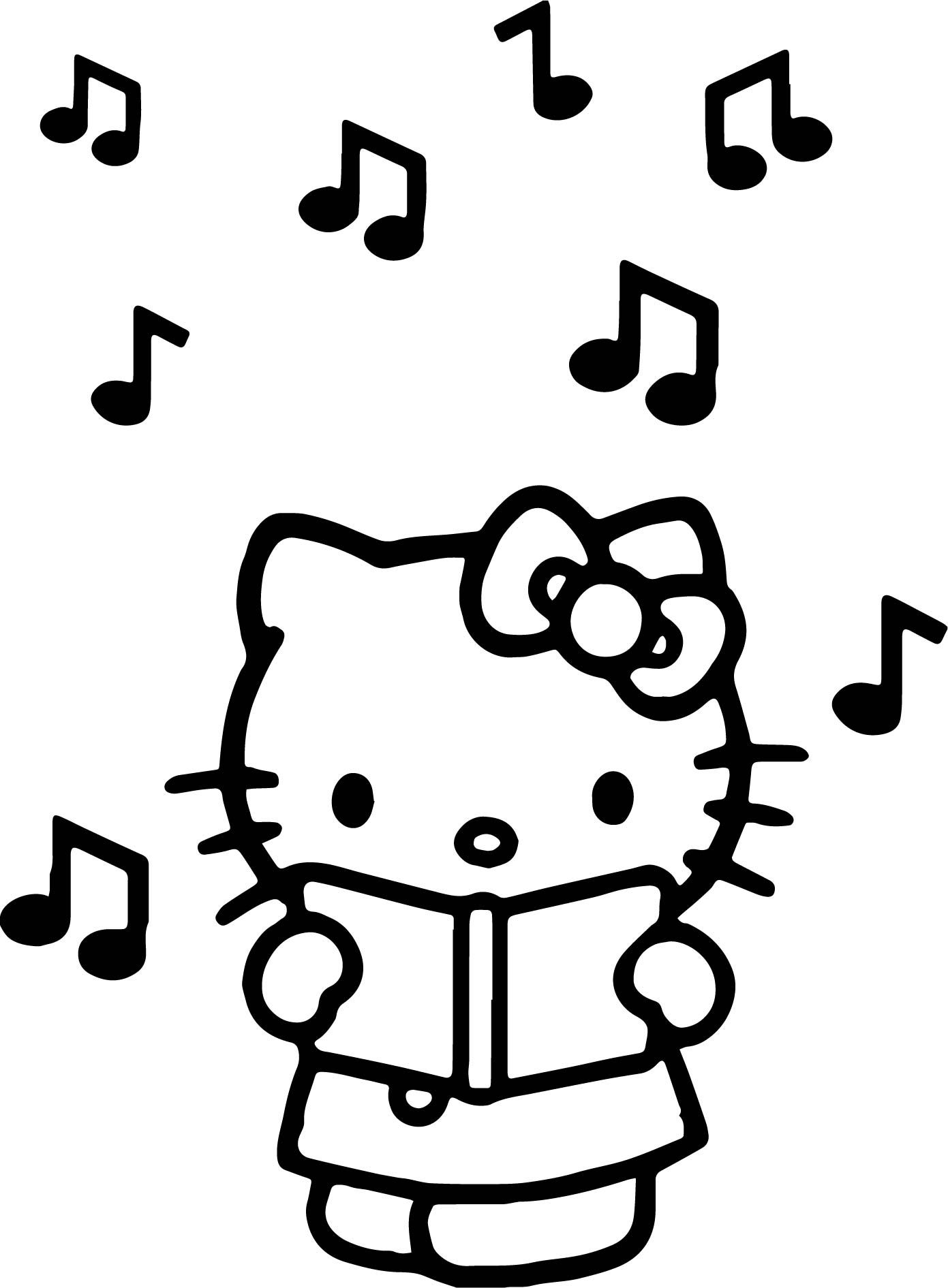 Cool hello kitty listen music coloring page