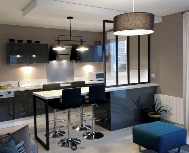 d co salon r alisation cuisine ouverte avec verri re et suspension m tal suspension metal. Black Bedroom Furniture Sets. Home Design Ideas