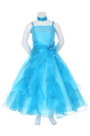 Organza and Beaded Satin Bodice Dress