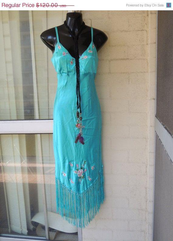 ON SALE Last Days ...Vintage Stunning Aqua Silk by GlamourZoya