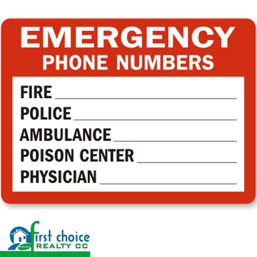 It's very important that you know all emergency numbers by