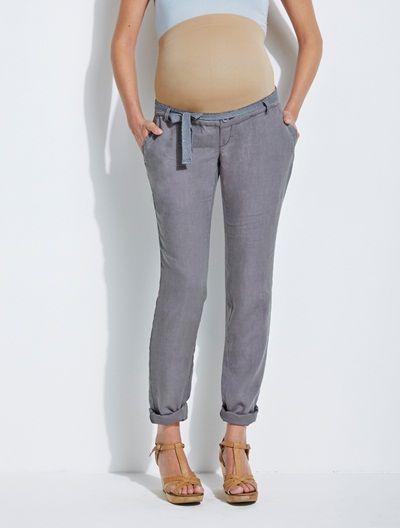 Pantalon en lin 78 cm et ceinture fantaisie de grossesse BLANC+FRAISE+GRIS  - vertbaudet enfant 767b1d2e94d