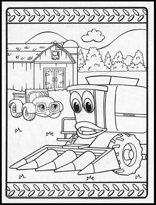 John Deere Combine Coloring Pages Sketch Template