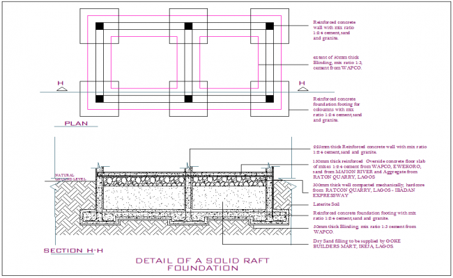 Raft Foundation Detail Dwg File Footing Foundation Foundation Engineering Rafting