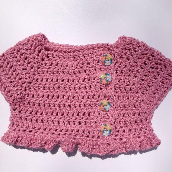 Rose pink shrug sweater crochet ruffle by Blooming Rose Crochet ...