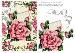 Pretty Pink Roses With Diamante Bow In Flower Frame