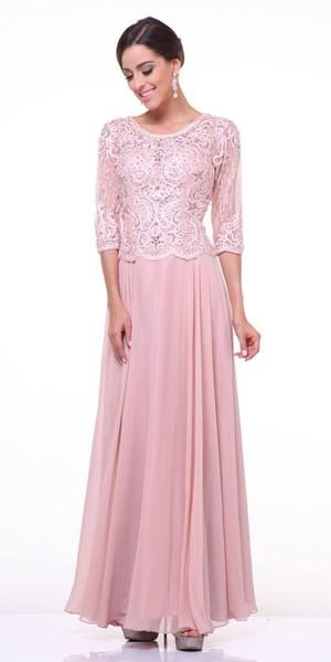 Mid Length Lace Sleeve Mother Of Groom Dress Blush Long In