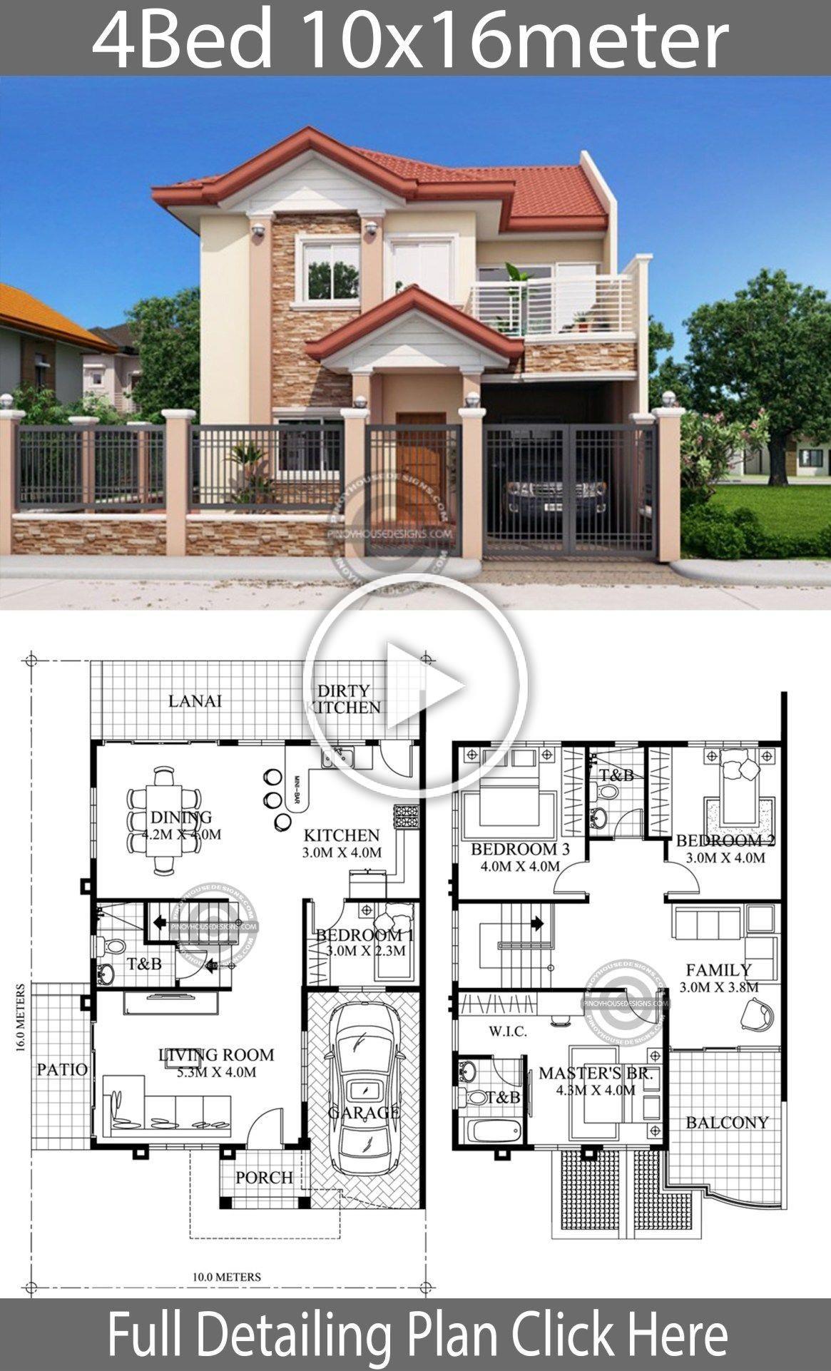 Home Design 10x16m 4 Bedrooms Home Design With Plansearch Mimarlik Ofisi Amerikan Evleri Ev Plani