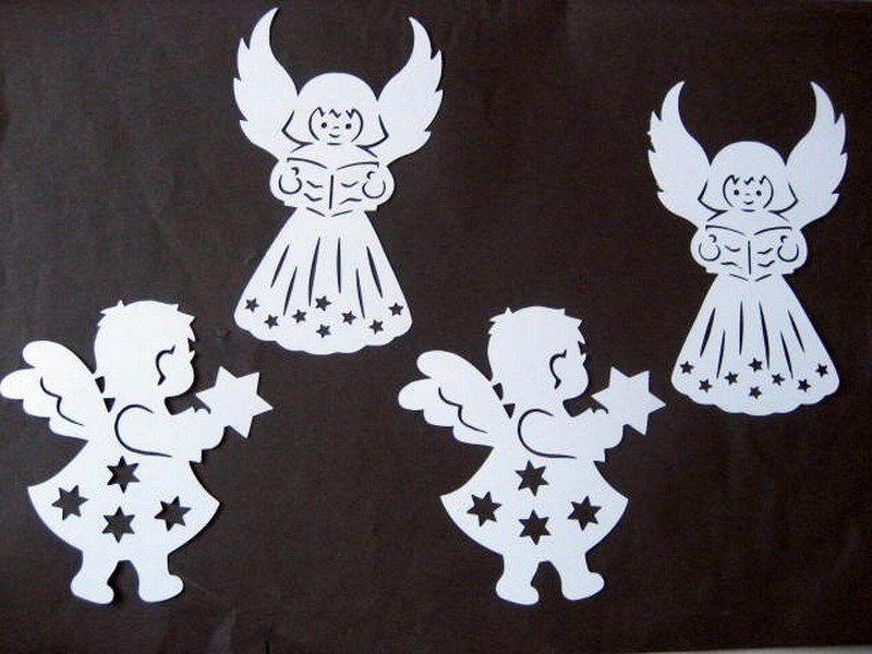 fensterbild filigran tonkarton 4 engel weihnachten. Black Bedroom Furniture Sets. Home Design Ideas