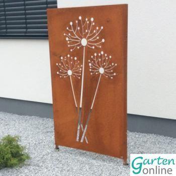 Sichtschutz Und Dekoelement Edelrost Pusteblume Gartenonline