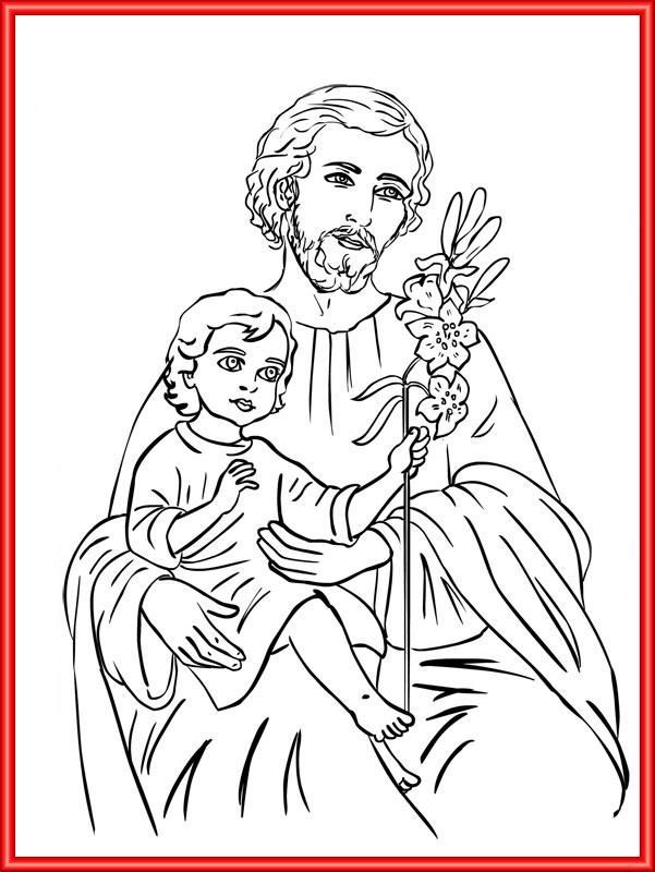 saint joseph adult coloring pages catholic kids homeschooling guadalupe tattoo studio angels embossing bible
