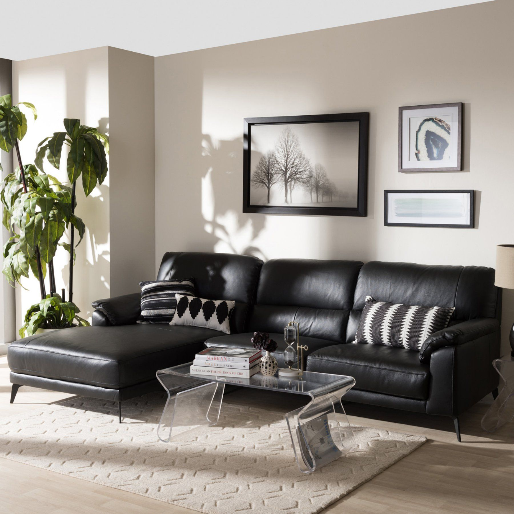 Baxton Studio Radford Modern And Contemporary Leather Left Facing Chaise 2 Piece Section With Images Leather Couches Living Room Black Living Room Leather Sofa Living Room