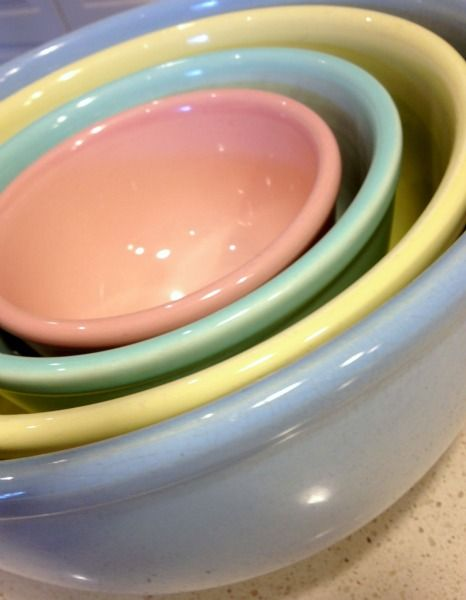 My vintage LuRay pastels dinnerware collection. It all started with a trip to a Salvation Army in . & My favorite pieces from my collection! Mixing bowls! Bella Rosa ...
