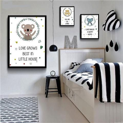 Love Grows Best In Little House Wall Art For Kids Rooms Koala Paintings