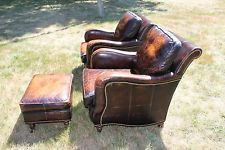 Vintage Sam Moore Distressed Polo Leather Club Chairs Armchairs Ottoman
