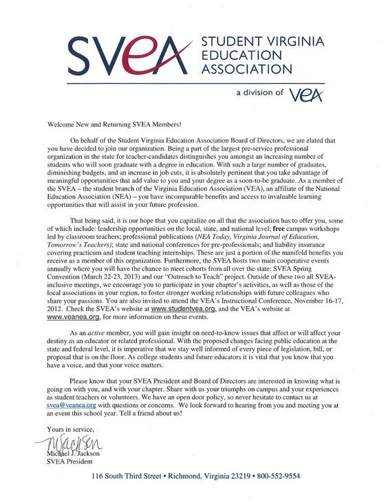 Welcome To The Board Letter Sample  Student Virginia Education