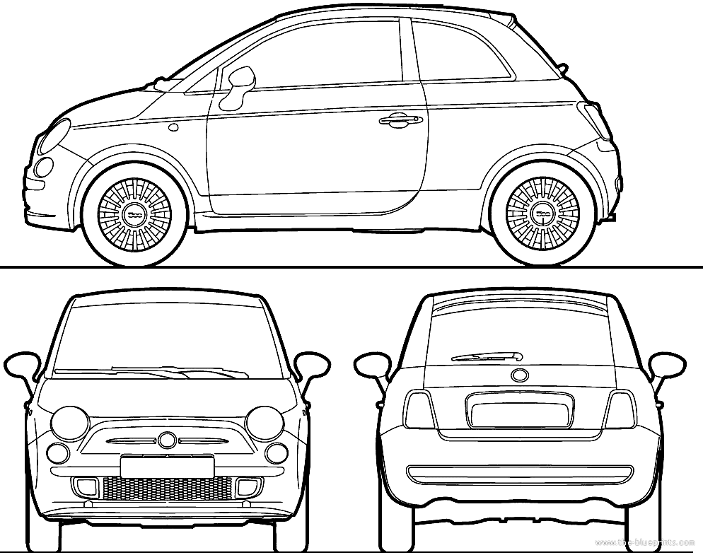 Fiat 500 blueprint ontwerpen pinterest fiat and car sketch fiat 500 blueprint malvernweather Gallery