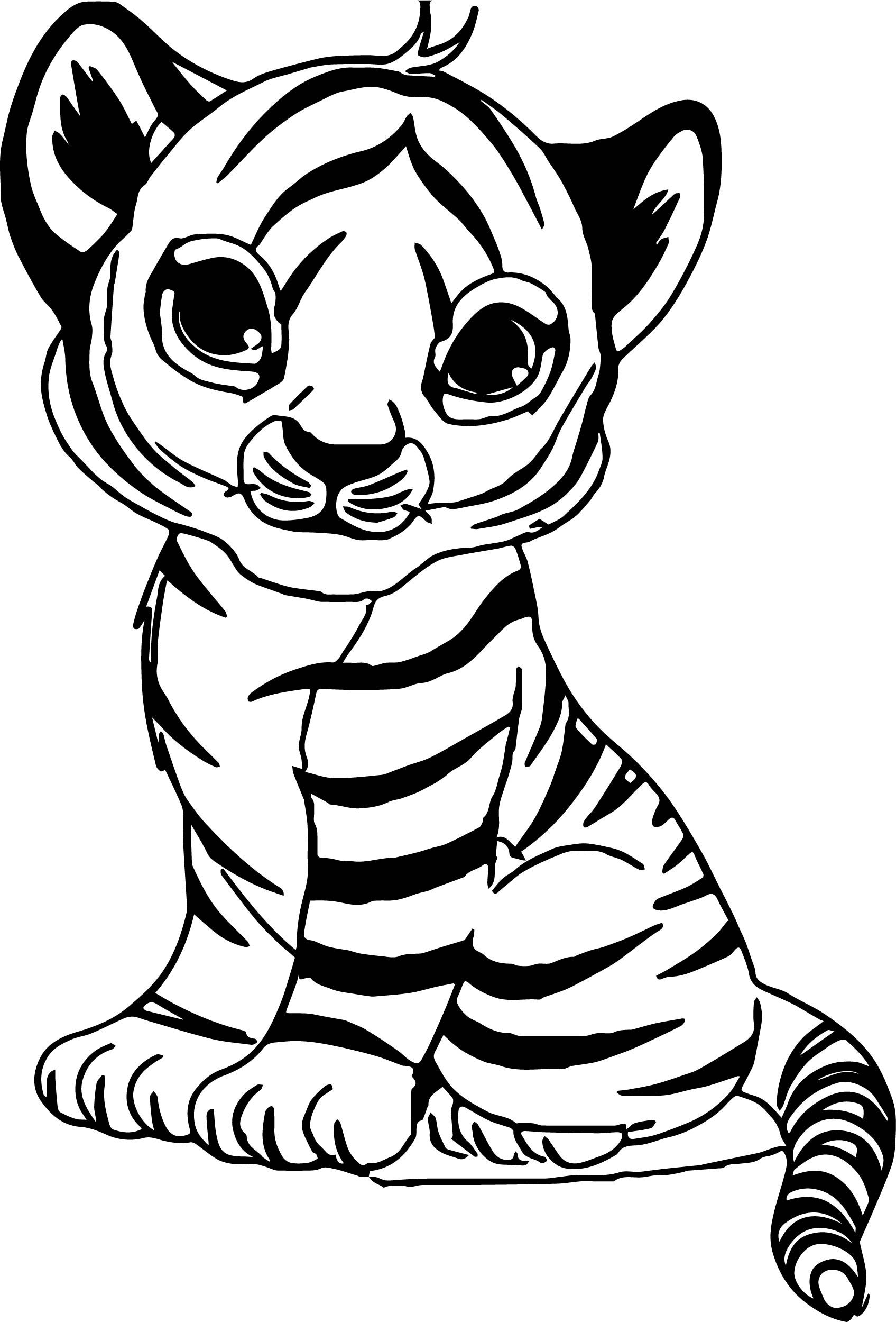 Nice Cute Baby Tiger Coloring Page
