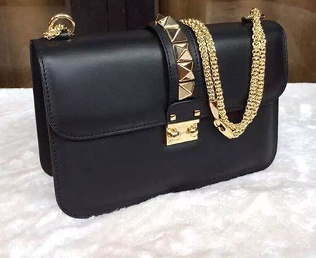 f2600e4b9c8 valentino glam lock bag in black leather with golden hardware ...