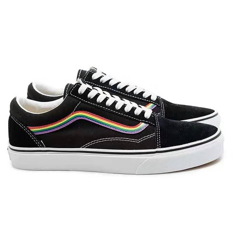 Vans Old Skool Rainbow Mark Shoes Black In 2020 Vans Shoes Old Skool Rainbow Vans Black Vans Shoes