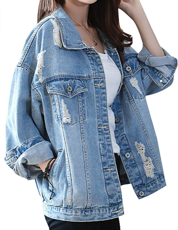 8f0c5e43f FOR SALE: Yasong Women Girls Loose Fit Long Sleeve Vintage Denim Light Wash  Faded Ripped Boyfriend Jean Jacket