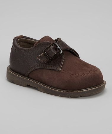 Take a look at this Brown Embossed Buckle Shoe by Designer's Touch on #zulily today!