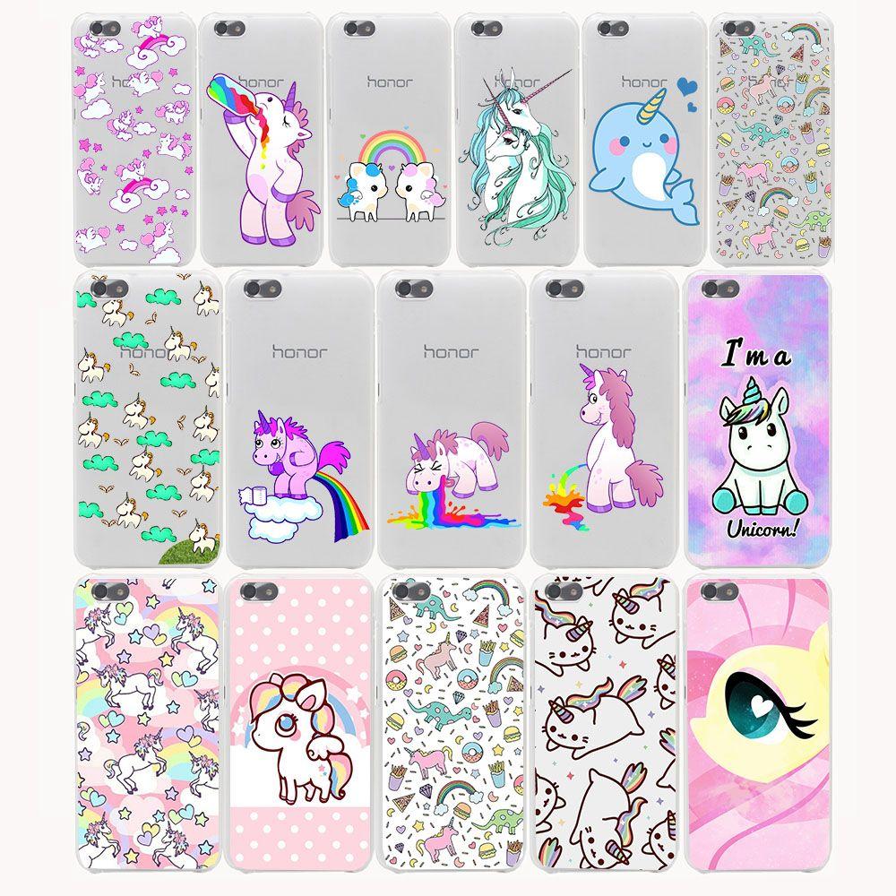 bcc61cf3685 Aliexpress.com: Comprar Unicornio de Dibujos Animados lindo Estuche rígido  para huawei P6 P7 P8 P9 P10 Lite p8lite más Honor 8 Lite 4C 4X6 7 G7 CASO  ...