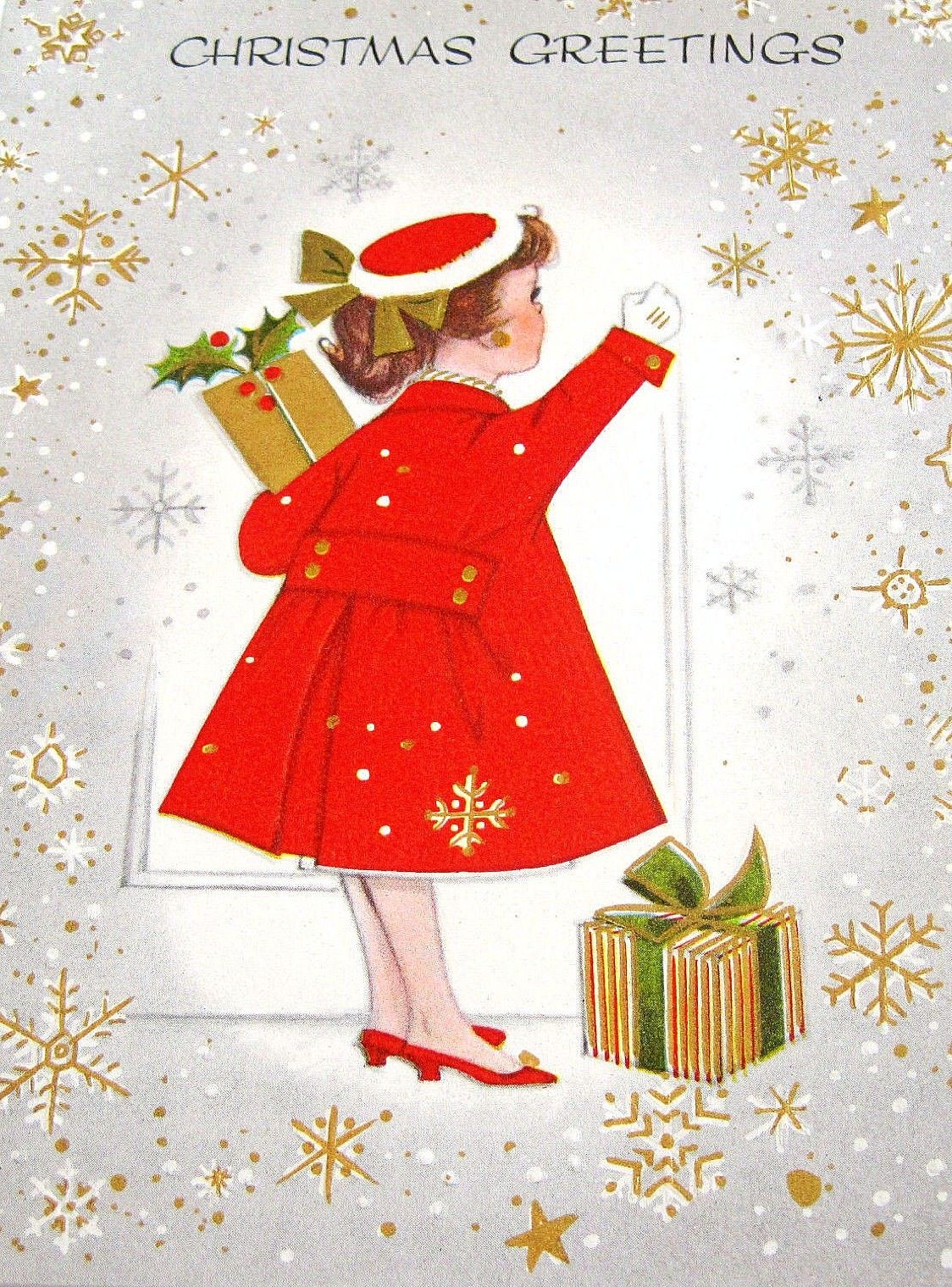 Used vintage christmas card 1940s 1950s girl with presents art badass billys greeting card model beaumadeen would love kristyandbryce Choice Image