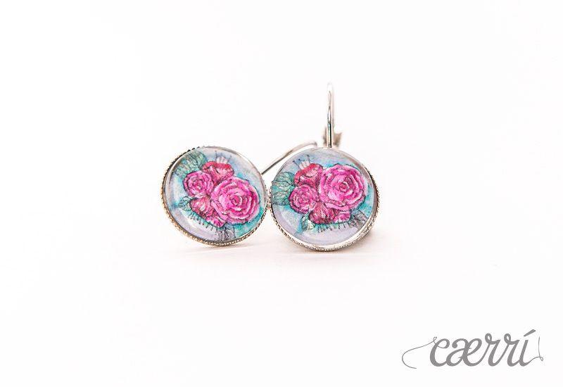 Pinke Rose - Ohrhänger 14mm, Silber von Caerri Design auf DaWanda.com