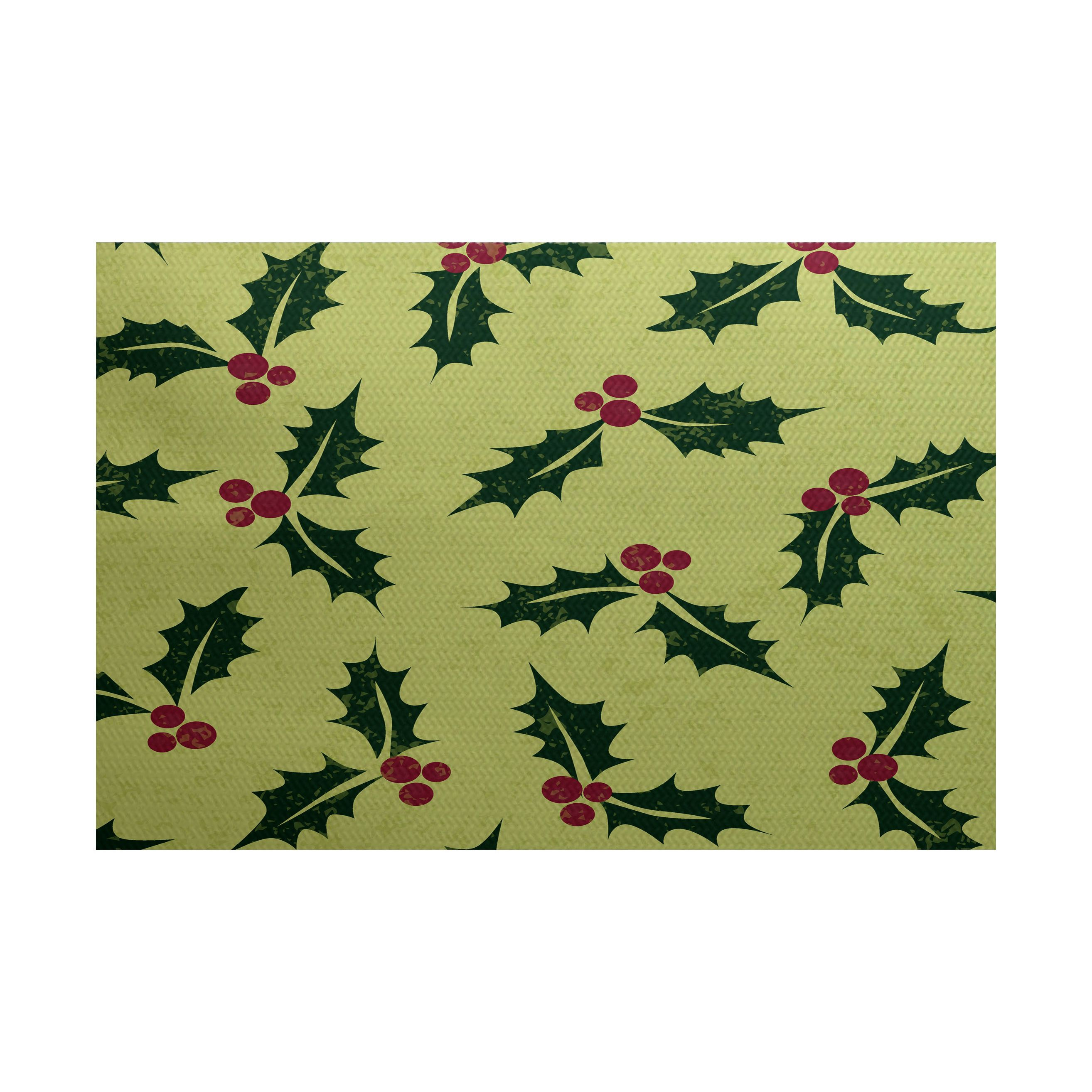 E By Design Allover Holly Floral Print Indoor Outdoor Rug 3 X 5