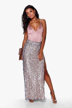 0c6d810eba #boohoo Lola Thigh Split Sequin Maxi Skirt - grey DZZ70856 #Boutique Lola  Thigh Split